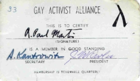 My G.A.A. membership card from 1970.